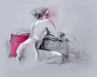 """Figure Drawing Female Nude by Lucy Morar / Fine Art Print 10"""" x 8"""" / Inspiration"""