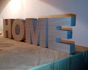Scritta HOME in legno di faggio