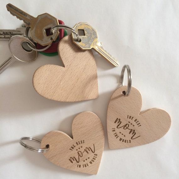 Portachiavi in legno a forma di cuore con o senza incisione laser