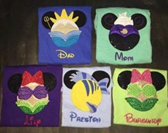 29401f239 Little Mermaid Mickey Ear shirt--Disney vacation mouse ear shirts-Family  Vacation Shirts-Disney Family Shirts- Custom Embroidery