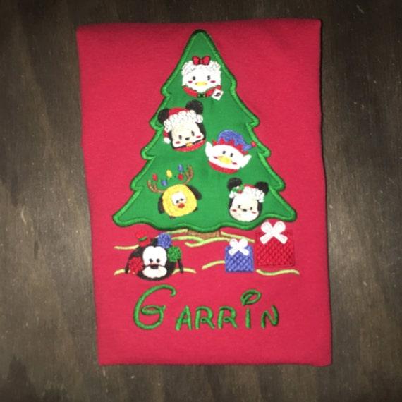 Disney Christmas Tree.Disney Christmas Tree Shirt Disney Ornament Tree Embroidered Disney Shirt Disney Tsum Tsum Shirt Disney Vacation Shirt