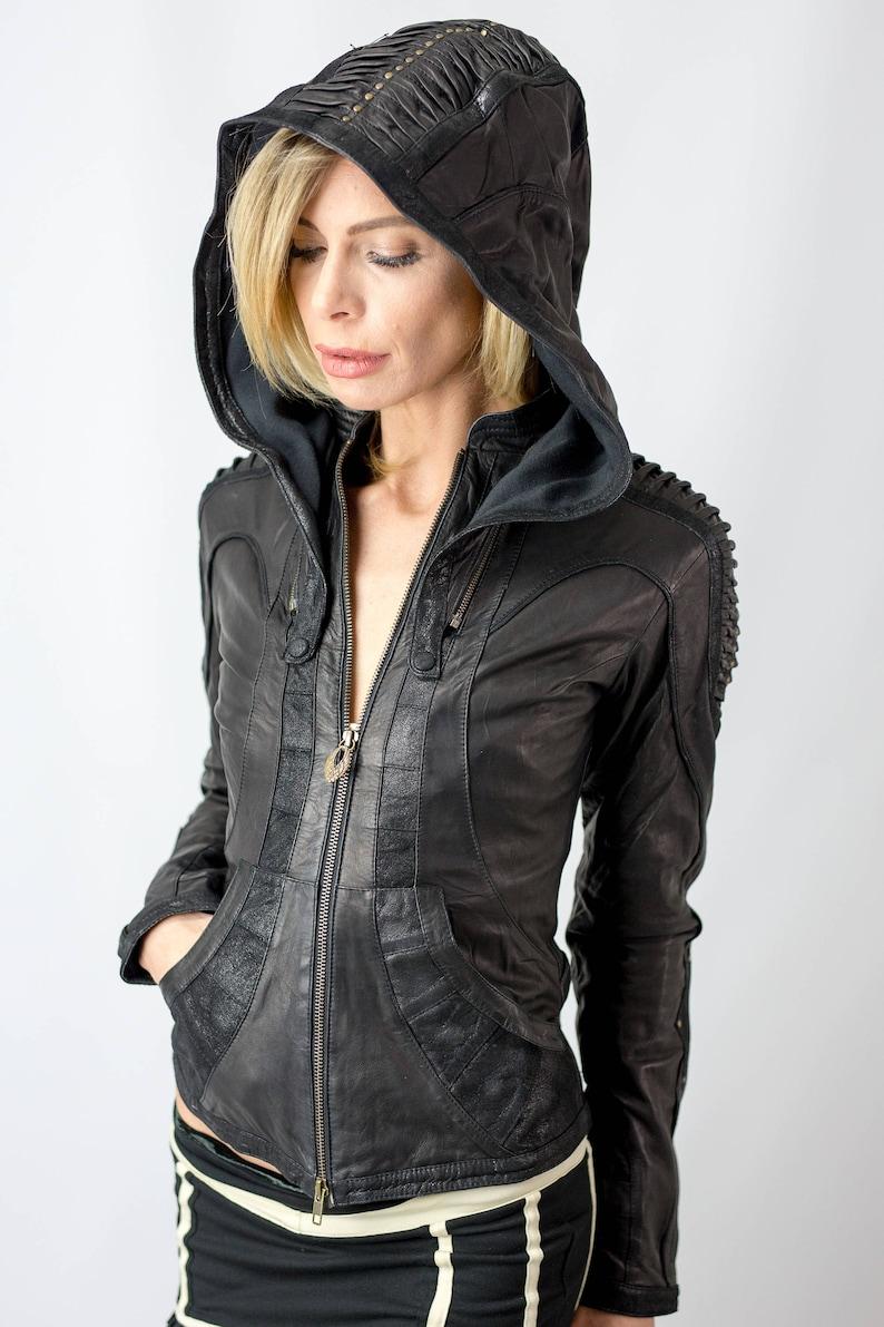 brand new a96ac 6402c Pelle donna giacca singolarità   Giacca in pelle con cappuccio   giacca  Festival   Giacca uomo Burning   giacca bruciatore   Mad max giacca