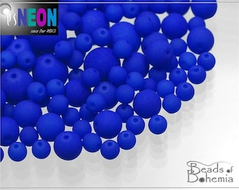 70 pcs 3 mm UV Active Neon Indigo Czech Glass Round Beads (8029)