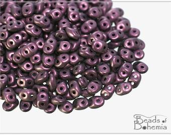 20 g Metallic Suede Pink Czech Superduo Beads 2,5x5 mm (9531)