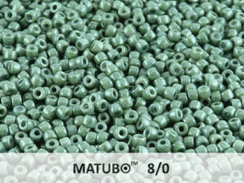 10grams MATUBO 8//0 Czech Seed Beads Opal Green Luster