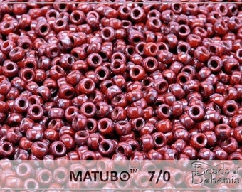 10 g Opaque Red Picasso Czech MATUBO Seed Beads 7/0 (8785)