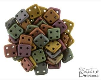 60 pcs Silky Metallic Dark Rainbow CzechMates QuadraTile Beads 6 mm (9283)