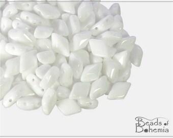 60 pcs Chalk White GemDuo Beads 5x8 mm, (11304)
