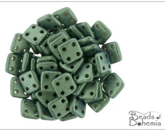 60 pcs Lt Green Metallic Suede CzechMates QuadraTile Beads 6 mm (9252)