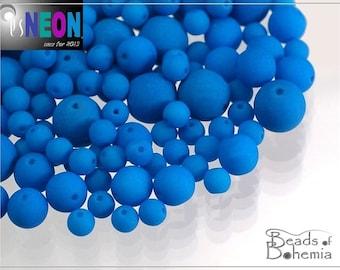 100 pcs 2 mm UV Active Neon Blue Czech Glass Round Beads (8032)