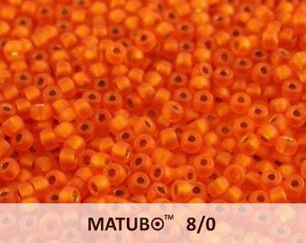 10 g Hyacinth Bronze Ice Lined Czech MATUBO Seed Beads 8/0 (9571)