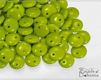 Opaque Olive Czech Lentil Beads 8 mm, 30 pcs (7474)