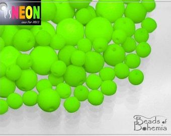 UV Active Neon Green Czech Glass Round Beads 10 mm, 12 pcs (7511)