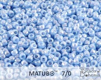 10 g Blue Opal White Luster Czech MATUBO Seed Beads 7/0 (8621)
