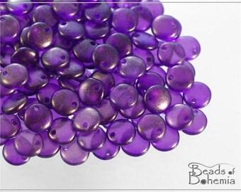 50 pc EXCLUSIVE Golden Dust Purple Czech Lentil Beads 6 mm (8563)
