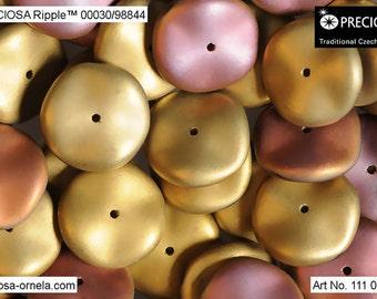 10 pcs California Pink Matted Preciosa Ripple beads, 12x4 mm (9358)