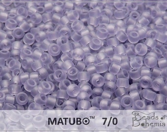 10 g Transparent Frosted Tanzanite Czech MATUBO Seed Beads 7/0 (8779)