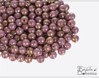 100 pcs Chalk Violet-Gold Luster Czech Glass Round Beads 4 mm (10281)