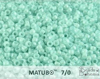 10 g Aqua Opal White Luster Czech MATUBO Seed Beads 7/0 (8618)