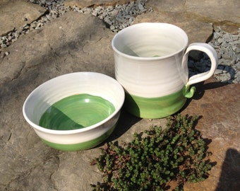 ON SALE--Stoneware Breakfast Set in Green & White