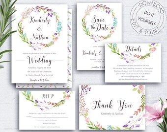 Diy Wedding Template Invitation Suite Olive Etsy