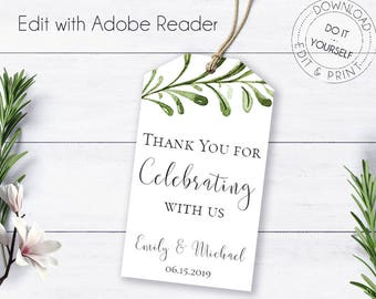Diy gift tags etsy greenery thank you gift tags boho watercolor wedding tags wedding favor tags diy gift tags editable thank you tags template solutioingenieria Image collections