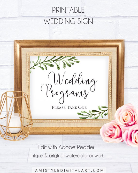 botanical wedding program sign download printable wedding etsy