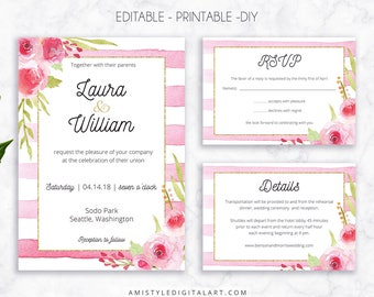 Wedding Invite Set, Pink Stripes, Invitation, Printable Wedding, Printable Invitation, Floral Wedding, Watercolor Wedding, Wedding Template