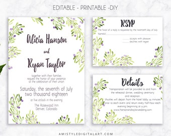 Wedding Invite Set, Olive Invitation, Printable Wedding, Printable Invitation, Greenery Wedding, Watercolor Wedding, Wedding Template