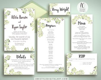 DIY Wedding Template, Invitation Suite, Olive