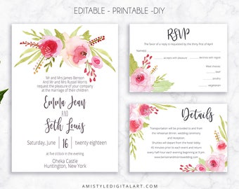 Rose Wedding Suite, Wedding Cards, DIY Wedding, COL-PRS