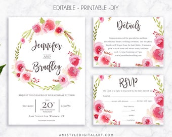 Wedding Invite Set, Rose Wreath, Invitation, Printable Wedding, Printable Invitation, Floral Wedding, Watercolor Wedding,Wedding Template