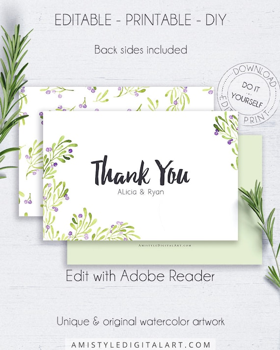 Printable thank you greeting cards olive greeting cards etsy image 0 m4hsunfo