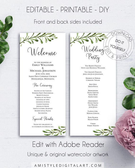 wedding reception program template wedding party ceremony etsy
