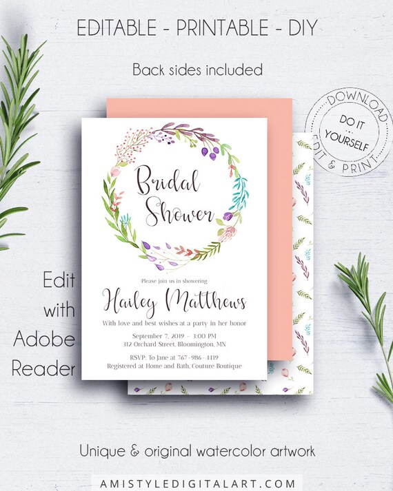 Diy bridal shower invite floral wreath templates bohemian etsy image 0 solutioingenieria Image collections