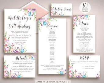 Wedding Invitation Suite, Wedding Invitation,Printable Invitation,Invitation Template,DIY Wedding,Invitation Suite,Watercolor Wedding,Invite