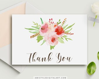 Thank You Card, Printable cards, Thank You, Wedding Stationery,Thanks,Greeting Cards,Floral Cards,Floral Thank You,Printable,Thank You Notes