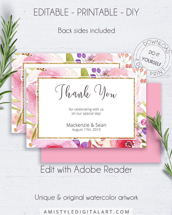 Botanical printable thank you greeting cards floral thank etsy image 0 m4hsunfo