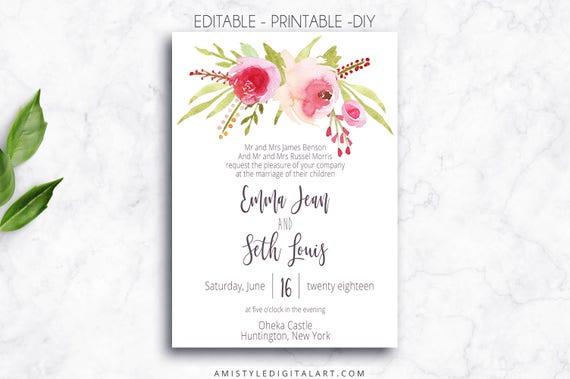 printable wedding invitation editable pdf printable etsy