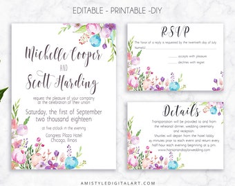Wedding Invite Set, Floral Invitation, Printable Wedding, Printable Invitation, Floral Wedding, Watercolor Wedding, Editable