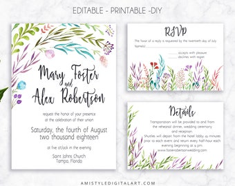 Wedding Invite Set, Leaves, Invitation, Printable Wedding, Printable Invitation, Floral Wedding,Watercolor Wedding,Wedding Template,Editable