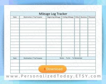 Mileage log | Etsy
