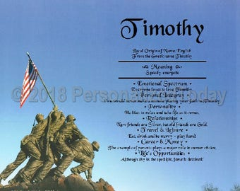 Marines Name Meaning Origin Print Name Personalized Certificate 8.5 x 11 Inches Customized With Any Name