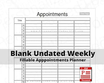 Undated Daily Weekly Appointment Schedule Planners Fillable PDF Downloads Blank Hour 4 Columns 8 Hours 15 Minute Time Slots US Letter Size