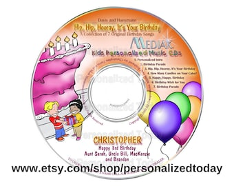 Hip, Hip Hooray It's Your Birthday Name Personalized Music CD For Kids Sing Your Name Children's Songs Custom Made To Order Mediak Party