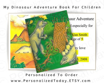 Dinosaur Book My Dinosaur Adventure Storybook Hardcover Custom Name Personalized Gift Adventure Story Kid's Children's Fiction Ages 3 to 10
