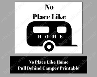 RV Printable Instant Download Pull Behind Travel Trailer Camper Simple Minimal Art Digital Image JPEG PDF Camping Decor No Place Like Home