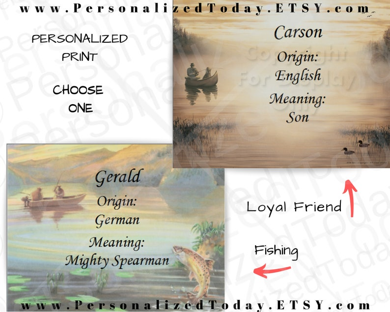 Personalized Fishing Artwork Two Men Fishing or Loyal Friend Man and Dog  Meaning of First Name Fishing Art Print Picture Ready To Frame