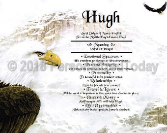 Eagle Snow Mountain First Name Meaning Name Origin Print Name Personalized Certificate 8.5 x 11 Inches Customize Name Wall Art Print Sign