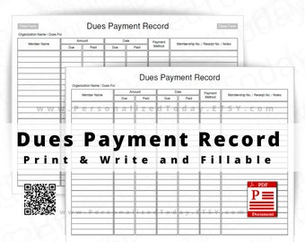 Dues Payment Record Fillable and Print and Write PDF Files US Letter Size - Not Fully Editable Templates - See Photos